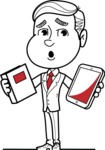 Black and White Businessman Cartoon Vector Character AKA James - Book and iPad