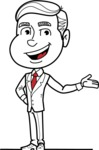 Black and White Businessman Cartoon Vector Character AKA James - Showcase
