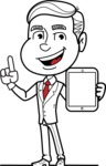 Black and White Businessman Cartoon Vector Character AKA James - iPad 1