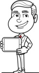 Black and White Businessman Cartoon Vector Character AKA James - iPad 2