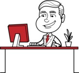 Black and White Businessman Cartoon Vector Character AKA James - Laptop 1