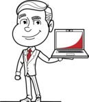 Black and White Businessman Cartoon Vector Character AKA James - Laptop 2