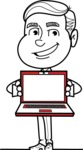 Black and White Businessman Cartoon Vector Character AKA James - Laptop 3