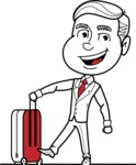 Black and White Businessman Cartoon Vector Character AKA James - Travel 1
