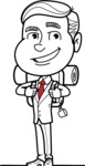Black and White Businessman Cartoon Vector Character AKA James - Travel 2