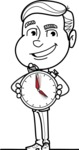 Black and White Businessman Cartoon Vector Character AKA James - Time is Yours