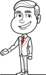 Black and White Businessman Cartoon Vector Character AKA James - Show