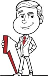Black and White Businessman Cartoon Vector Character AKA James - Pointer 1