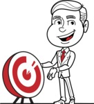 Black and White Businessman Cartoon Vector Character AKA James - Target