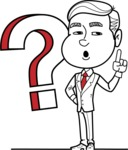 Black and White Businessman Cartoon Vector Character AKA James - Question