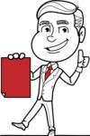 Black and White Businessman Cartoon Vector Character AKA James - Sign 2