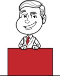 Black and White Businessman Cartoon Vector Character AKA James - Sign 6