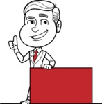 Black and White Businessman Cartoon Vector Character AKA James - Sign 7