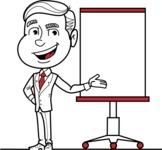Black and White Businessman Cartoon Vector Character AKA James - Presentation 1