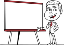Black and White Businessman Cartoon Vector Character AKA James - Presentation 2