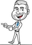 Flat Linear Man Cartoon Vector Character AKA Bob Beardman - Point2