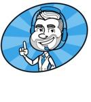 Flat Linear Man Cartoon Vector Character AKA Bob Beardman - Shape 4
