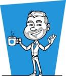Flat Linear Man Cartoon Vector Character AKA Bob Beardman - Shape 5