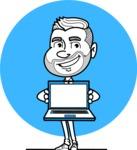 Flat Linear Man Cartoon Vector Character AKA Bob Beardman - Shape 6