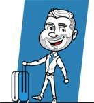 Flat Linear Man Cartoon Vector Character AKA Bob Beardman - Shape 7