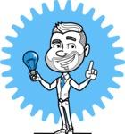Flat Linear Man Cartoon Vector Character AKA Bob Beardman - Shape 8