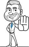 Flat Linear Man Cartoon Vector Character AKA Bob Beardman - Stop