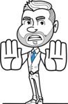 Flat Linear Man Cartoon Vector Character AKA Bob Beardman - Stop 2