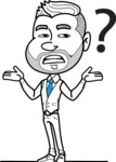 Flat Linear Man Cartoon Vector Character AKA Bob Beardman - Confused