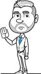 Flat Linear Man Cartoon Vector Character AKA Bob Beardman - Goodbye