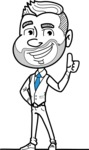 Flat Linear Man Cartoon Vector Character AKA Bob Beardman - Thumbs Up