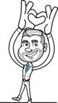 Flat Linear Man Cartoon Vector Character AKA Bob Beardman - Show Love