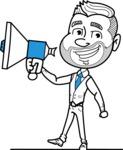 Flat Linear Man Cartoon Vector Character AKA Bob Beardman - Loudspeaker