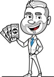 Flat Linear Man Cartoon Vector Character AKA Bob Beardman - Show me the Money