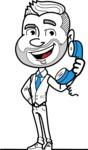 Flat Linear Man Cartoon Vector Character AKA Bob Beardman - Support