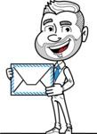 Flat Linear Man Cartoon Vector Character AKA Bob Beardman - Letter