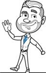 Flat Linear Man Cartoon Vector Character AKA Bob Beardman - Wave