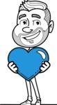 Flat Linear Man Cartoon Vector Character AKA Bob Beardman - Love