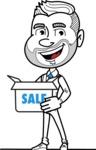 Flat Linear Man Cartoon Vector Character AKA Bob Beardman - Sale
