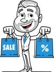 Flat Linear Man Cartoon Vector Character AKA Bob Beardman - Sale2