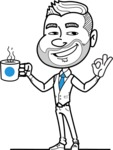 Flat Linear Man Cartoon Vector Character AKA Bob Beardman - Coffee