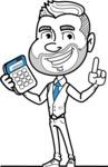 Flat Linear Man Cartoon Vector Character AKA Bob Beardman - Calculator
