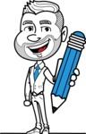 Flat Linear Man Cartoon Vector Character AKA Bob Beardman - Pencil