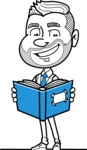 Flat Linear Man Cartoon Vector Character AKA Bob Beardman - Book 1