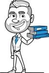 Flat Linear Man Cartoon Vector Character AKA Bob Beardman - Book 2
