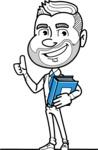 Flat Linear Man Cartoon Vector Character AKA Bob Beardman - Book 3