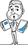 Flat Linear Man Cartoon Vector Character AKA Bob Beardman - Book and iPad