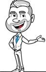 Flat Linear Man Cartoon Vector Character AKA Bob Beardman - Showcase