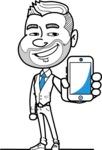 Flat Linear Man Cartoon Vector Character AKA Bob Beardman - iPhone