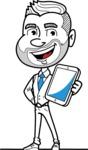 Flat Linear Man Cartoon Vector Character AKA Bob Beardman - iPad3