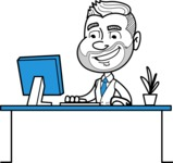 Flat Linear Man Cartoon Vector Character AKA Bob Beardman - Laptop 1